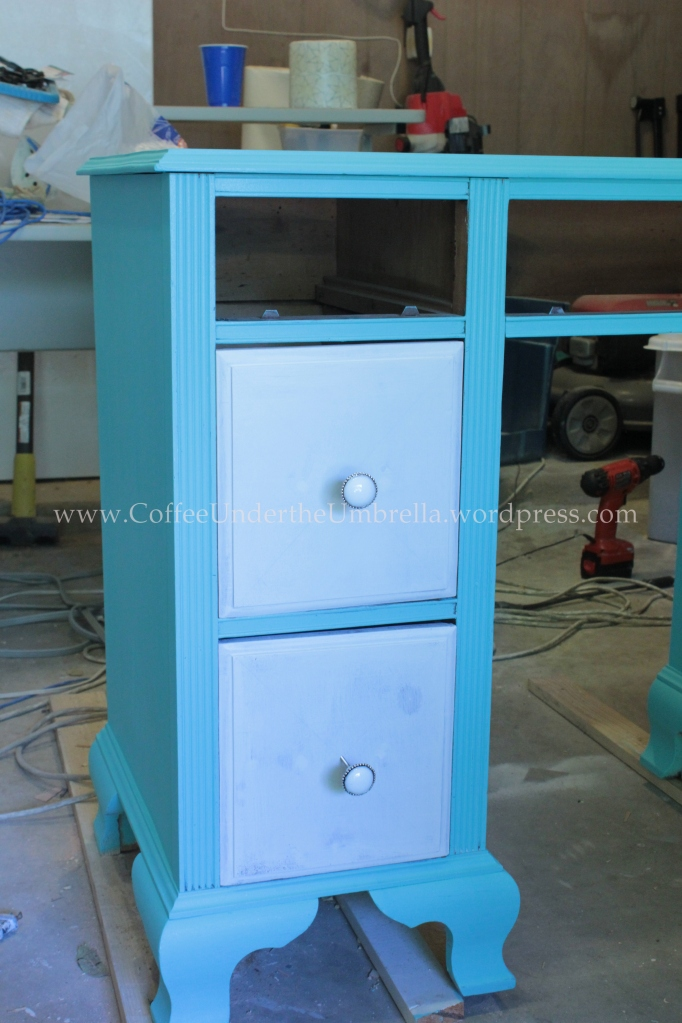 blue wood vanity painted drawers