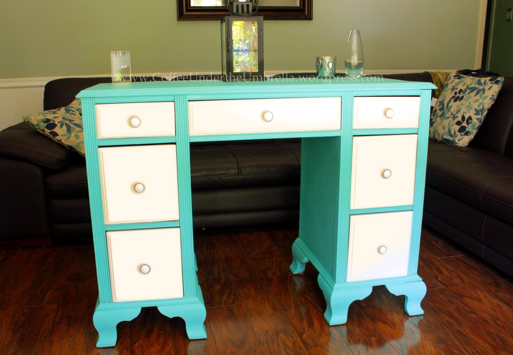 blue refinished wood desk