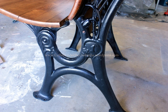 Close up of the school desk legs