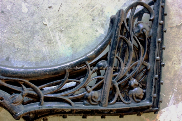antique school desk metal detailing